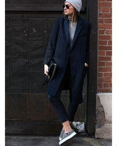 """Säker stil #SakerStil på Instagram: """"Grey turtleneck, men's style coat, pinstripe trousers, grey beanie and sneakers ✔️ this is how we want to dress for fall! Picture of @weworewhat by @thesartorialist #fall2015 #stylish #styleinspiration #stylegram"""""""