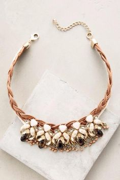 NEW ANTHROPOLOGIE Braided Blooms Bib Necklace Ivory Brass Glass Zinc Leather NWT #Anthropologie #Bib