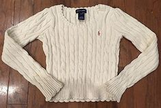 Ralph Lauren Girls Ivory Pullover Cable Knit Sweater Size 6x