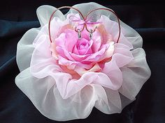 ateliersarah's ring pillow/pink roses and organza