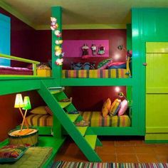 Future bedroom fir kids to share. 4 kids in one corner :) it's like a slumber party every night!