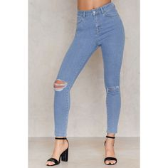 Ripped Knee Skinny Highwaist Jeans (€56) ❤ liked on Polyvore featuring jeans, denim skinny jeans, destroyed skinny jeans, skinny jeans, high waisted ripped skinny jeans and destructed skinny jeans