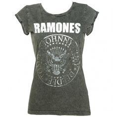 Women's Charcoal Burnout Classic Ramones Logo T-Shirt with Rolled... ❤ liked on Polyvore featuring tops, t-shirts, burnout t shirt, roll sleeve t shirt, charcoal tee, charcoal gray t shirt and logo tops