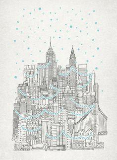 Winter in New York Art Print - By David Fleck