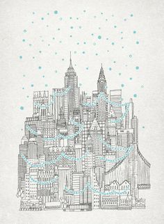 Winter in New York Stretched Canvas / Art Print / Cards / Bags / Hoodies / iPhone Cases / by David Fleck