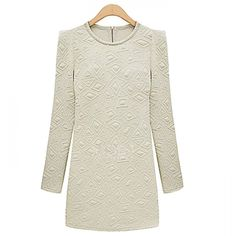 Euramerican Stylish Round Collar Long Sleeve Beads Uneven Pattern Slim Fit Dress.  Check out the Tmart link on MomTheShopper.