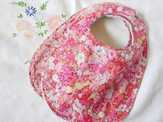 Liberty Bibs Set of 2 in Pink  Towelbacked by YumyumHome on Etsy, £13.00