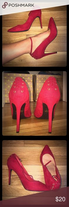 S E X Y Red Heels Lace up Red Heel • Pointed Toe • Worn Once • 4.5 Inches Shoes Heels