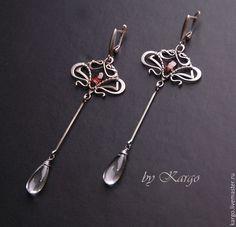 Купить Эликсир (серебро) - серебряный, серебро, гранат, длинные серьги, хрусталь, подарок, wire wrap