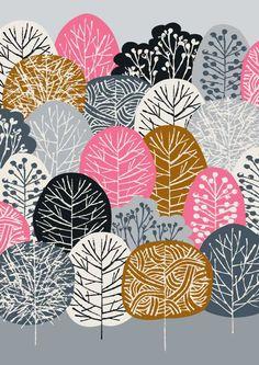 Bosque de color de rosa es una nueva forma de color de mi bosque azul popular impresión, con una nueva paleta de dulce. Esta pieza incorpora el color coral rosa, tan marrón, gris claro, carbón y negro sobre un fondo gris. Todas mis imágenes comienzan vida como algo creada de la mano, ya sea pintado, impreso o dibujado. Mis imágenes son digitalmente arreglados y de color.  El tamaño de papel es A4. Tamaño de la imagen es ligeramente más pequeño que esto para permitir que un borde blanco…