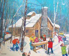 Miyuki TANOBE - Le premier jour de la cabane à sucre Illustrations, Illustration Art, Groundhog Day, Canadian Art, Country Art, Black History Month, Art Classroom, Beach House Decor, Art Plastique