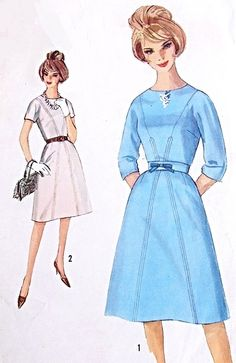 Early 60s Retro Mad Men Dress Pattern Simplicity 5063 Kimono Style Sleeves Seam Interest Bust 38 Vintage Sewing Pattern FACTORY FOLDED