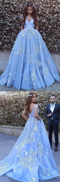Blue Ball Gown Court Train V Neck Off Shoulder V Back Long Prom Dress,Party Dress P183       #LongPromDresses, #CheapPromDress, #PartyDresses, #PromGowns, #GownsProm, #EveningDresses, #CheapPromDresses, #DressesforGirls, #PromDressUK, #PromSuit, #PromDressBrand, #PromDressStore, # Party Dress #GraduationDress