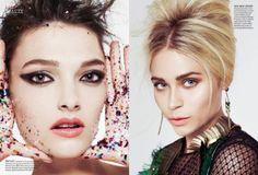 Celestine & Kristen Model Festive Beauty For Elle Canada December 2013 #Editorial #Beauty #Christmas