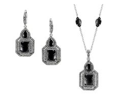 MARC Sterling Silver Onyx Marcasite Earrings & Necklace