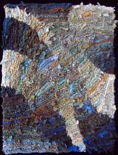 Blue & Brown Flow #rug, OOAK. Sold. Hand knit from recycled t shirts and men's clothing. See similar rugs at www.rugsfromrags.com