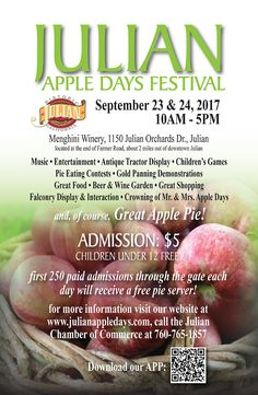 2019 will boast a series of small events in Julian to celebrate Apple Days Harvest. Fall is a beautiful time to Visit Julian California Apple Festival, Festival 2017, Pie Eating Contest, Apple Season, Great Recipes, Special Events, Fall Coloring, California, Posters