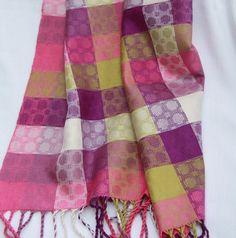 TuttiFrutti Handwoven Silk Scarf magenta edge by weaverbirddesigns, $210.00