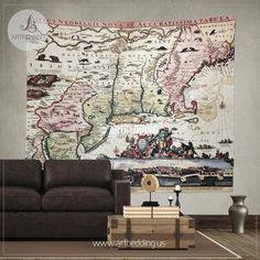 Vintage world map wall tapestry old world map wall hanging new england old map with new amsterdam insert view wall tapestry vintage interior map wall gumiabroncs Images