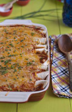 veggie enchiladas with corn, black beans + kale - Jelly Toast