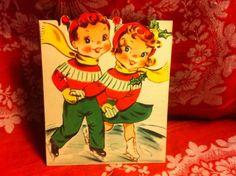 Vintage Christmas Card  Skating Children Folding Display card Rare New Old Stock
