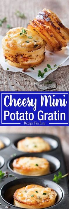 Cheesy Potato Gratin Stacks (Muffin Tin) Mini Potato Gratin Stacks - great party food, breakfast with eggs or as a side for a fancy dinner. Made in a muffin tin! Potato Dishes, Potato Recipes, Food Dishes, Side Dishes, Potato Muffins Recipe, Egg Recipes, Pizza Recipes, Food Food, Mini Potatoes
