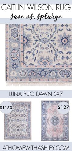Blue And Pink Living Room, Blush Living Room, Blue Girls Rooms, Blue And White Rug, Cream Living Rooms, Blush Bedroom, Pink Bedroom For Girls, Little Girl Rooms, Rugs In Living Room