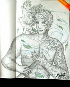My drawing of Rowan Whitethorn, Fae Prince of Doranelle / new King of Terrasen. (And his hawk form.) #rowanwhitethorn #faeprince #terrasen #hawk #throneofglass #throneofglassart #sketch #drawing #fantasyart
