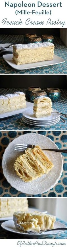 Napoleon Dessert Recipe French Pastry Mille Feuille Cream Pastry How to make a classic French Napoleon. With its layers of puff pastry & vanilla pastry cream, the Napoleon (AKA, Mille Feuille) is easier than it appears. Desserts Keto, Brownie Desserts, Just Desserts, Delicious Desserts, Plated Desserts, Napoleon Dessert, Napoleon Cake, Napoleon Pastry, Napoleon French