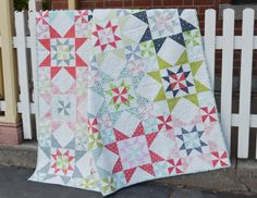 "Down South, a SheQuiltsAlot pattern, Twin size 64 x 80"", block size 16"", fat quarter friendly, 22 FQ for Twin Size"