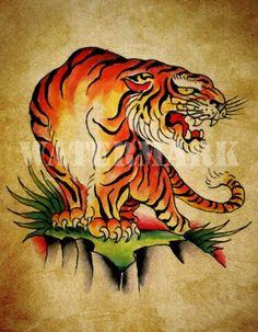 tiger tattoo traditional - Cerca con Google