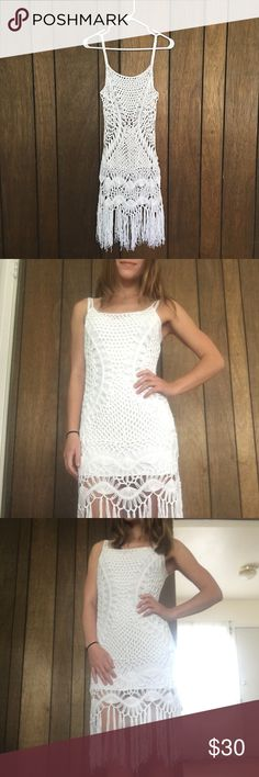 ✨Style Addict Crotchet Fringe Dress White, crotchet dress with fringe from Style Addict. Perfect for a music festival or just as a bikini coverup. NOTE: This does not come with the white slip I'm wearing underneath for the photos. I only wore this once!! Style Addict Dresses Mini