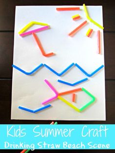 SavingSaidSimply.com - EASY Kids Summer Craft Idea - Drinking Straw Beach Scene
