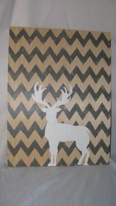 Cadre en bois, chevron gris, représentation chevreuil de la boutique…