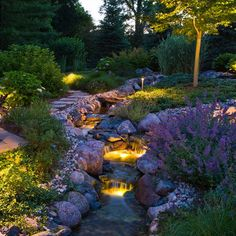 Beautiful landscaping and lighting by Grant and Power Landscaping.
