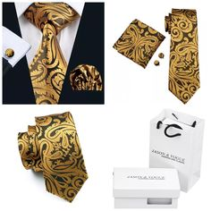 """Coordinating brand new silk tie set. Includes tie, pocket square (handkerchief) and cuff links. This set also includes a gift box and gift bag🎁    Also available on our website at www.UyleesBoutique.com in our """"Gift Items"""" section.    Tie length is 61"""" from top to bottom. The width at the largest portion is 3.25"""".    Please note,this item requires three (3) weeks to ship. Please take the shipping time into consideration when placing your order. Thank you ~ 📦 