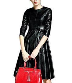 Frauen schwarz-Rundhalsausschnitt Langarm-Tie-Taillen-Kleid aus Leder Craze http://www.amazon.de/dp/B018497ICG/ref=cm_sw_r_pi_dp_hh4Vwb1ZG5KJN