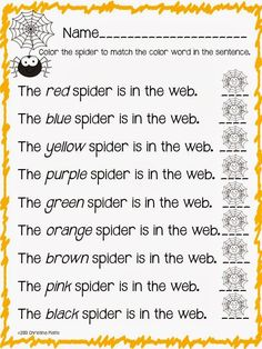 Read Write Sing: Spiders! Color Words and Schema Booklet FREEBIES!