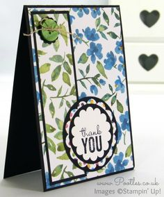 Stampin' Up! UK Demonstrator Pootles - Thank You Card using Stampin' Up! Painted Blooms DSP
