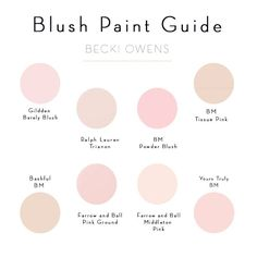 Blush Pink Paint Guide  I like the upper left glidden best or the lower left one
