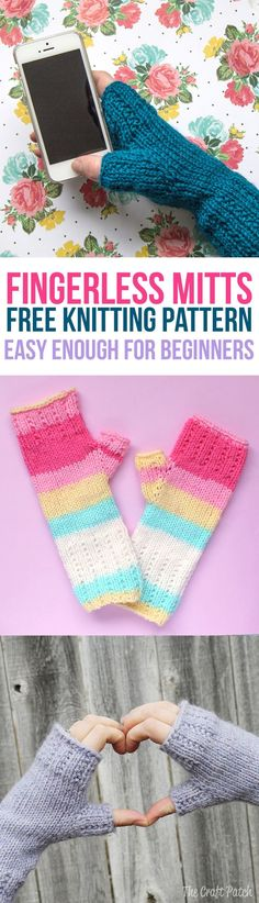 Free beginner knitting pattern and tutorial to teach you how to knit a pair of fingerless mitts featuring a pretty broken rib stitch and worked on double pointed needles.
