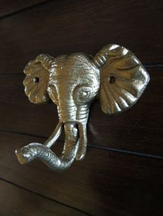 Elephant Wall Hook / Cast Iron Elephant Refinished in Antique Gold /Shabby Chic/Nursery Hook/Children's Room
