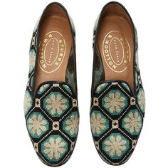 Stubbs & Wootton     Kent Black Needlepoint Slipper ($450) ❤ liked on Polyvore featuring shoes, slippers, flats and turquoise