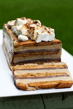 smores-ice-cream-cake  To assemble: 3 9 x 5-inch graham cracker slabs* 1½ cups hot fudge sauce, divided Additional marshmallows, garnish AND ICE CREAM!!! This look relatively easy.