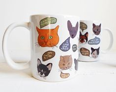 Cat lover gift cat mug motivational quotes by PrintsOfHeart