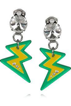 Miu Miu Plexiglass Lightning Bolt Clip Earrings.  Electric Avenue.