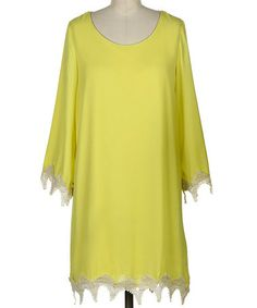 Look what I found on #zulily! Lime Lace-Trim Three-Quarter Sleeve Shift Dress by Fashionomics #zulilyfinds