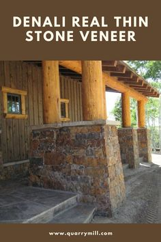 Denali natural thin stone veneer from the Quarry Mill adds a rustic and grand feel to the pillars on this stunning wrap around porch. #naturalstone #stoneveneer #thinstone #realstone #quarry #freeshipping #thinstoneveneer #thinveneer #masonry #outdoorliving #wraparoundporch #rusticdesign #rustichomes #homedesign #designinspiration #inspiredbynature #sustainableliving #dreamhome #architecture #welcomehome #beautifulhomes Thin Stone Veneer, Natural Stone Veneer, Natural Stones, Castle Rock, Rock Style, Sustainable Living, Rustic Design, Curb Appeal, Beautiful Homes