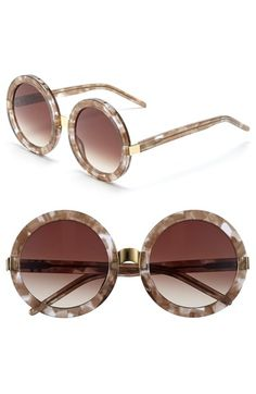 Wildfox 'Malibu' 56mm Sunglasses (Nordstrom Exclusive) available at #Nordstrom  Item # 1048134 Circular lenses lend cool retro appeal to sleek sunglasses in an eye-catching design.      56mm lens width; 13mm bridge width; 140mm temple length.     100% UV protection.     Grey Marble/Brown Gradient and Confetti/Grey Gradient are available online only.     Acetate/metal.     By Wildfox; imported.