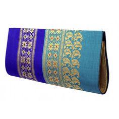 Light and Drak Blue Artisans Baluchari Clutches by Parul- PC -14041